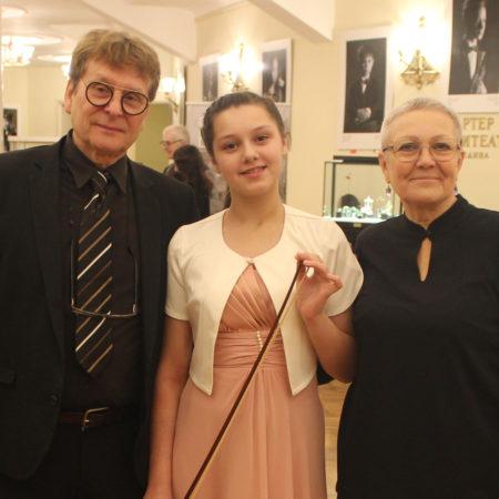 А.Карбонар и Э.Коновалова на вручении скрипки